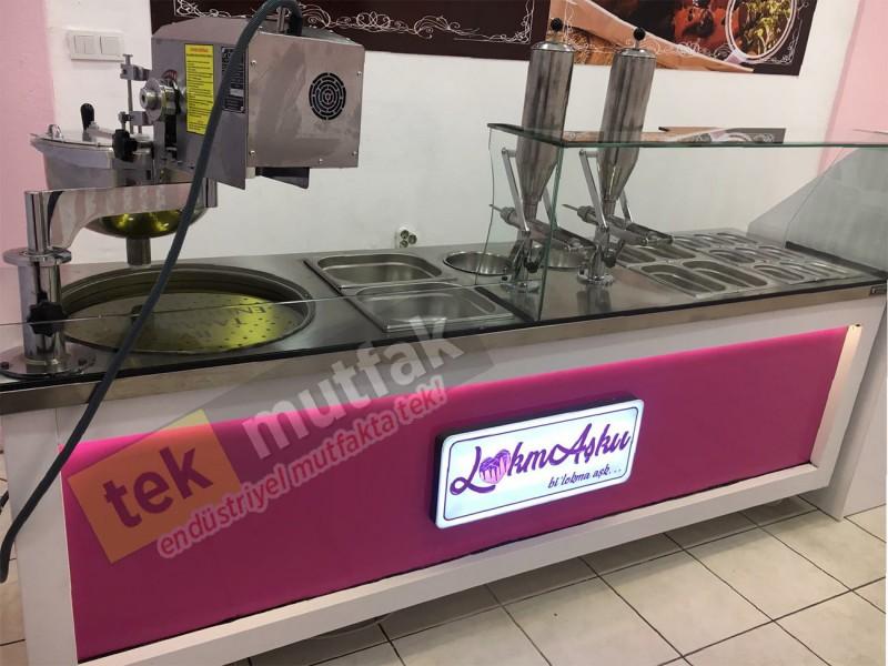 Çikolatalı Lokma Tezgahı - 3 Adet Çikolata Dolum Makinesi - Lokma Sunum Tezgahı