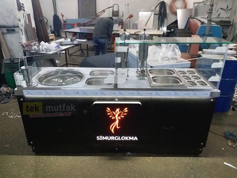 Çikolatalı Lokma Tezgahı - 2 Adet Çikolata Dolum Makinesi -  Tekparça 200 cm