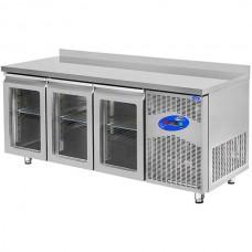 CSA İnox Tezgah Tip Buzdolabı 400 Litre 3 Kapılı Camlı