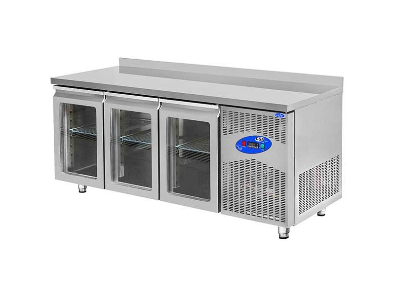 CSA Buzdolabı Tezgah - 474 Litre Camlı 304 Paslanmaz