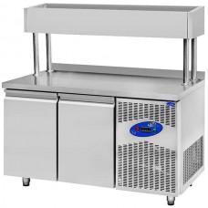 CSA İnox Tezgah Tip Buzdolabı Yükseltilmiş Make Up 281 Litre 2 Kapılı 304 Paslanmaz